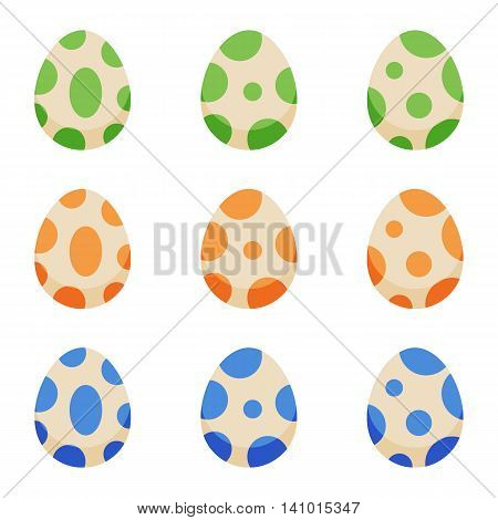 Cute cartoon style colorful monster, dinosaur, dragon spotted eggs set, collection isolated on white background.