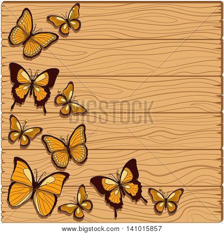 Vector background with planks, butterflies and studs.