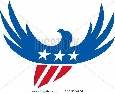 Illustration of an american bald eagle flying viewed from front with usa american stars on its wings and american stripes as its body set on isolated white background done in retro style.