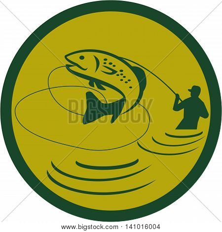 Illustration of a trout fish jumping and fly fisherman fishing viewed from the side set inside circle on isolated background done in retro style.