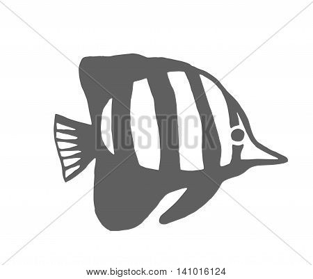 Fish silhouette logo icon sketch symbol illustration