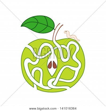 Vector cartoon illustration of green apple with maze of caterpillar tracks.