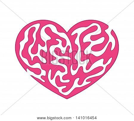 Abstract vector illustration of maze in pink heart