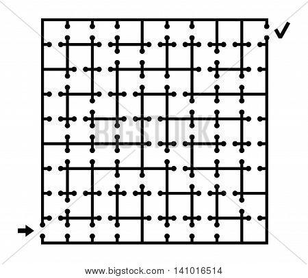 Vector illustration of black square maze on white background