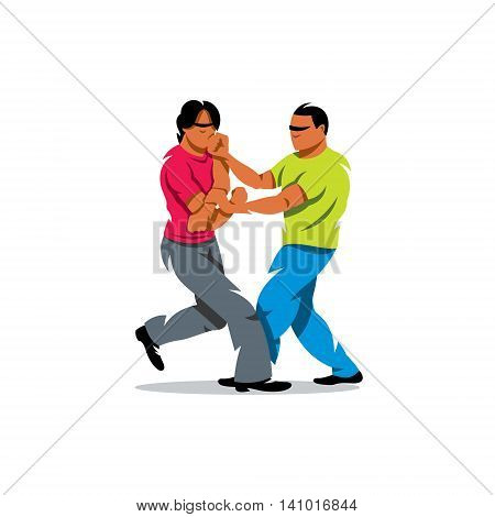 Two people work out fighting skills in tandem with each other. Isolated on a white background