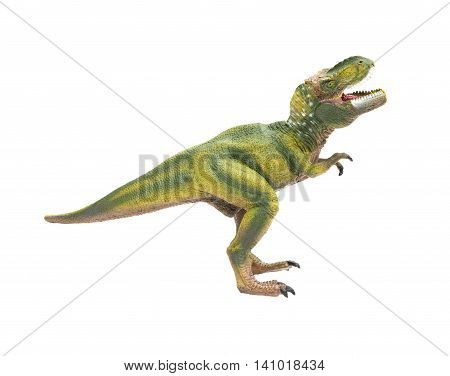 side view green tyrannosaurus toy on a white background