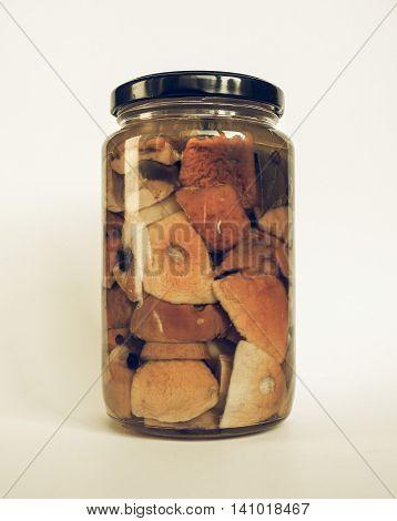 Porcini Mushroom Jar Vintage Desaturated