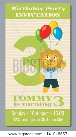 Birthday holiday greeting and invitation with cute lion vector card 3 years old. Banner birthday and invintation card to third birthday illustration