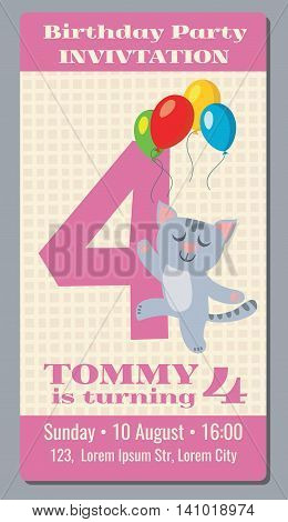 Birthday holiday greeting and invitation with cute cartoon cat vector card 4 years old. Birthday party with cat , card or poster to event birthday illustration