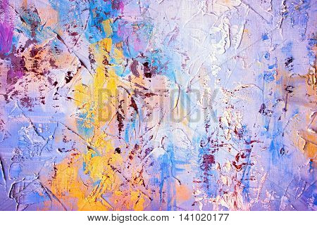 Colored Brushstrokes In Oil On Canvas - Hand Painted Background