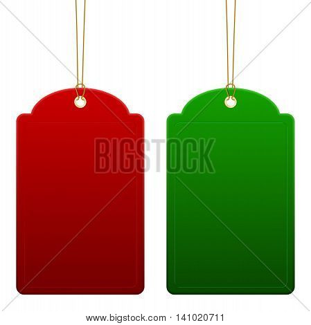 Red and green empty price tags - hanging on golden rope. Isolated on white background. Vector illustration.