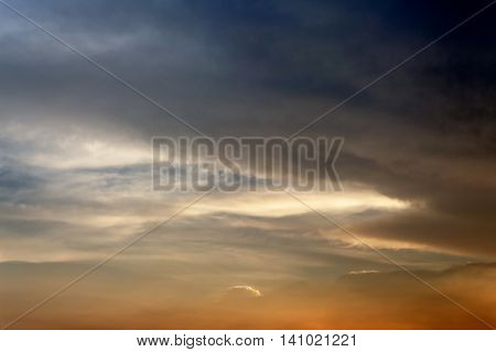 Dark color blue sky and  black and motion fluffy cloud episode sunset beautiful nature