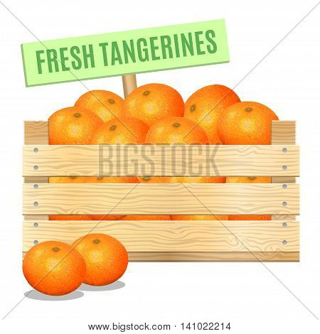 Fresh mandarins in a wooden box on a white background. Vector icon