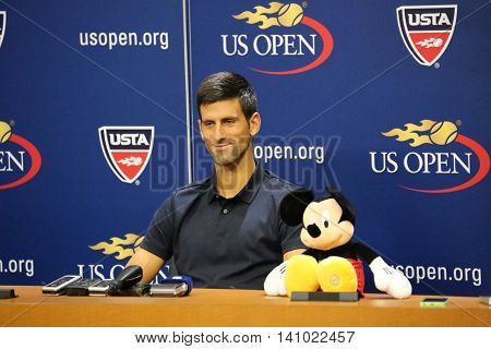 NEW YORK - AUGUST 29, 2015: Grand Slam Champion Novak Djokovic of Serbia during press conference before US Open 2015.