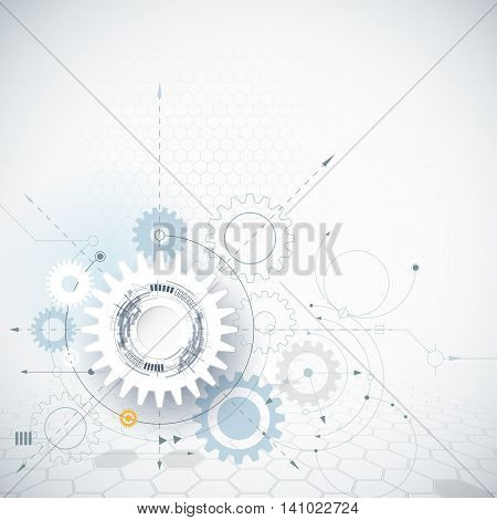 Vector illustration gear wheel and hexagons. Abstract hi-tech technology and engineering background. Technology futuristic concept. Vector abstract technology on light gray color background