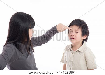 Asian sister and brother quarreling on white background isoated