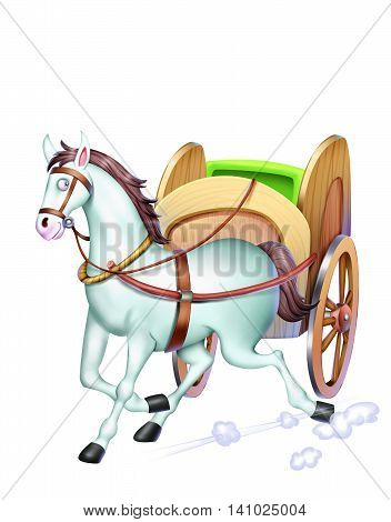 A white horse walks with a cart