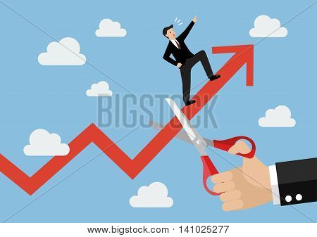 Big hand cutting growing graph of businessman. Business concept
