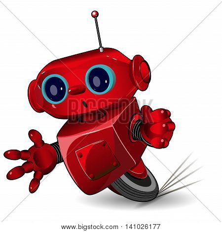 Illustration red robot speed in a bend