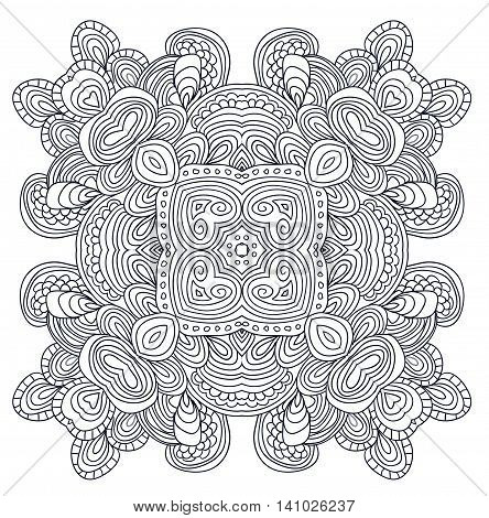 Aztec uncolored vector element for adult coloring book.
