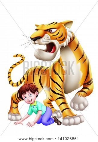 A boy under a big aggressive tiger