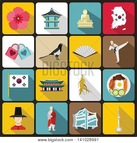 South Korea icons set in flat style. South Korea symbols set collection vector illustration