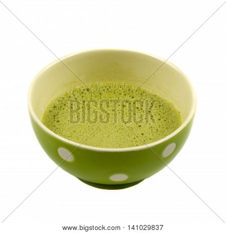 The traditional Japanese green tea Matcha is ready for drinking