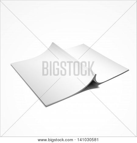 Blank Opened Magazine Back Cover, Book, Booklet, Brochure. On White Background Isolated. Mock Up Template Vector EPS10.