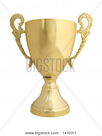 Trophy On White With Path