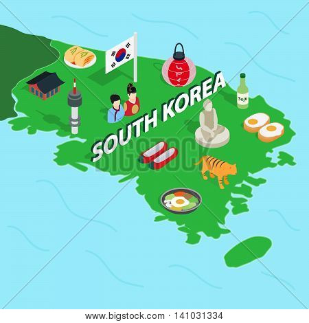 South Korea map in isometric 3d style. Symbols of Korea set collection vector illustration