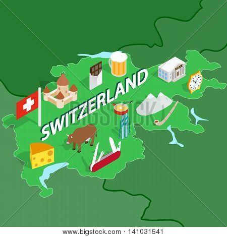 Switzerland map in isometric 3d style. Symbols of Switzerland set collection vector illustration