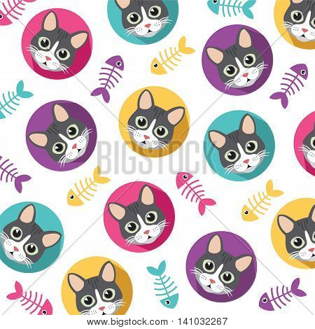 Collection of Cute Cat and fishbone vector pattern illustrations on colored backgroundVector File EPS10