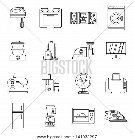 Household appliances icons set in outline style. Home electrical devices set collection vector illustration