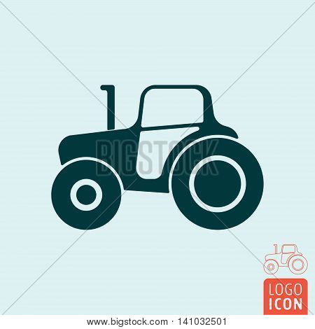 Tractor icon. Construction or farm truck symbol. Vector illustration