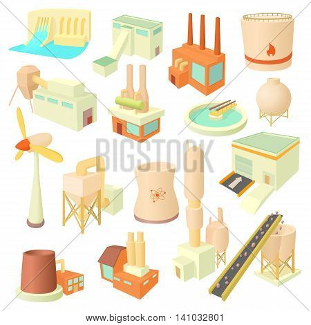 Industry icons set in cartoon style. Industrial building factories and plants set collection vector illustration