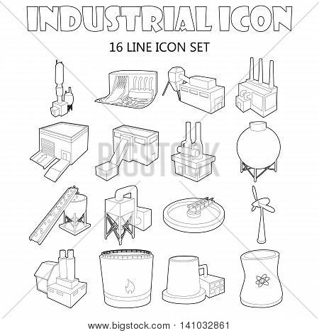 Industry icons set in outline style. Industrial building factories and plants set collection vector illustration