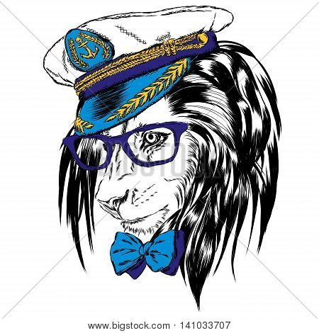 Beautiful lion in the captain's cap. King of beasts. Vector illustration for greeting card, poster, or print on clothes.