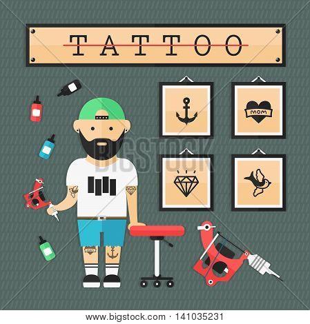 tattoo artist in tattoo salon flat illustration