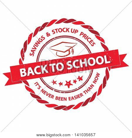 Back to school. Savings and stock up prices. It's never been easier than now - elegant label with cap, red CMYK