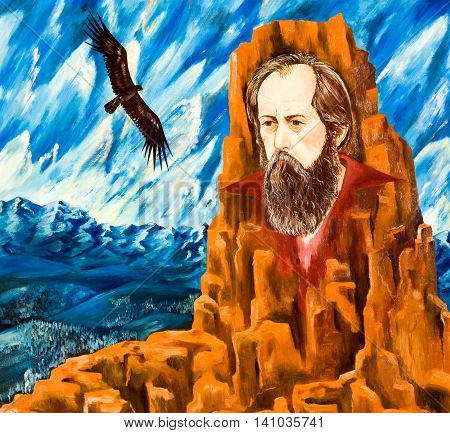 Portrait of a bearded man on a background of red rocks and taiga