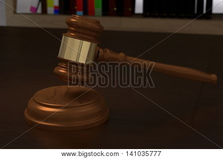 3D rendering of a wooden judge hammer on a wooden table
