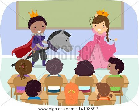 Stickman Illustration of Children Role Playing as a Prince and a Princess