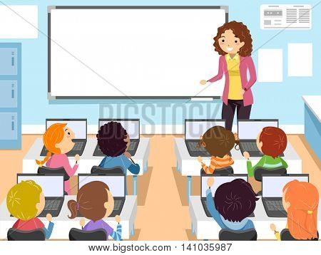Stickman Illustration of Preschool Children in a Computer Class
