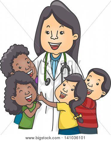 Illustration of Children Hugging a Female Pediatrician