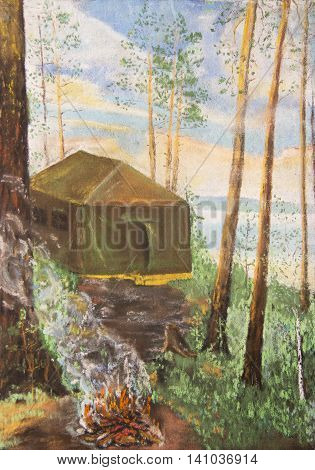 Tent in a pine forest. The pastel drawing