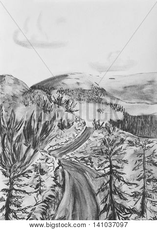 Taiga road among the hills. Charcoal drawing on paper
