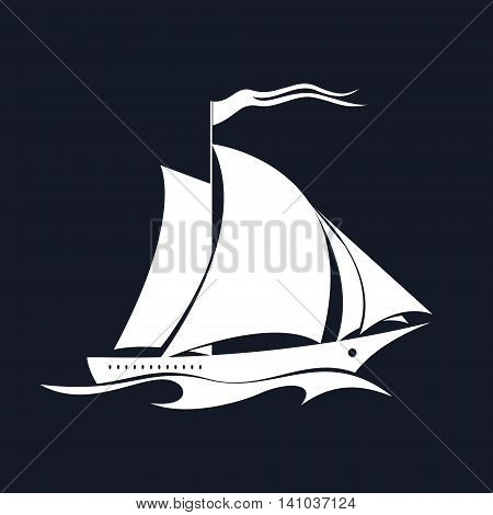 Yacht on the Waves, Sailing Vessel Isolated on Black Background, Travel Concept , Vector Illustration