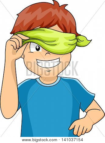 Illustration of a Blindfolded Kid Peeking from His Blindfold