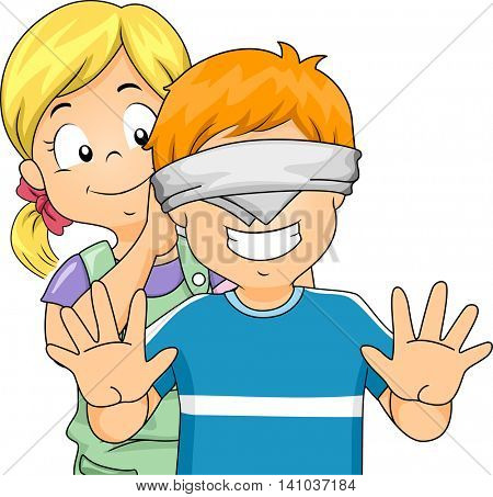 Illustration of a Little Girl Blindfolding a Little Boy