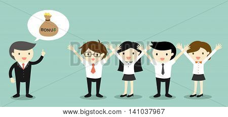 Business concept, Boss talking about bonus and business people feeling happy. Vector illustration